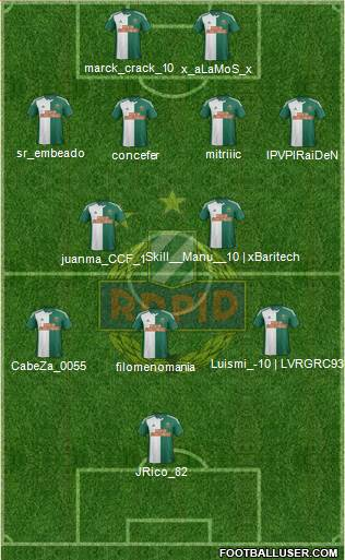 SK Rapid Wien 4-4-1-1 football formation