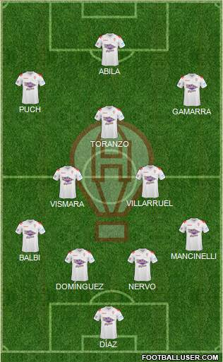 Huracán 4-2-2-2 football formation