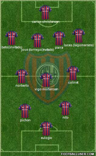 San Lorenzo de Almagro 4-3-2-1 football formation