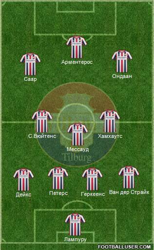 Willem II 4-1-3-2 football formation