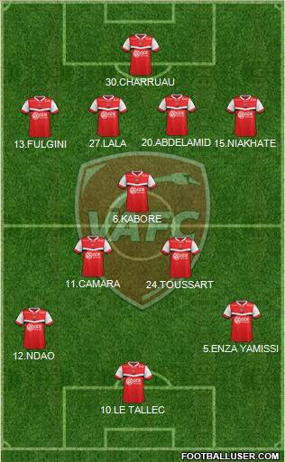 Valenciennes Football Club 3-4-3 football formation