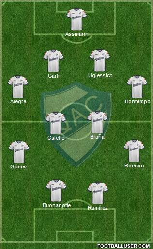 Quilmes 4-2-1-3 football formation