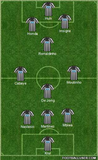 Newcastle United 3-4-3 football formation