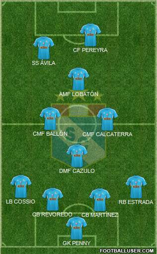 C Sporting Cristal S.A. 3-5-2 football formation
