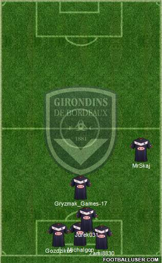FC Girondins de Bordeaux 4-1-2-3 football formation