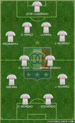 CD Once Caldas 4-4-2 football formation