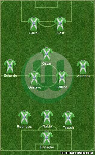 VfL Wolfsburg 3-4-1-2 football formation