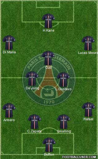 Paris Saint-Germain 4-2-1-3 football formation