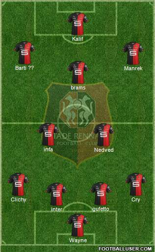 Stade Rennais Football Club 4-3-3 football formation