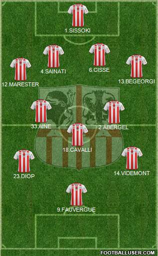 Athletic Club Ajaccien Football 4-1-4-1 football formation