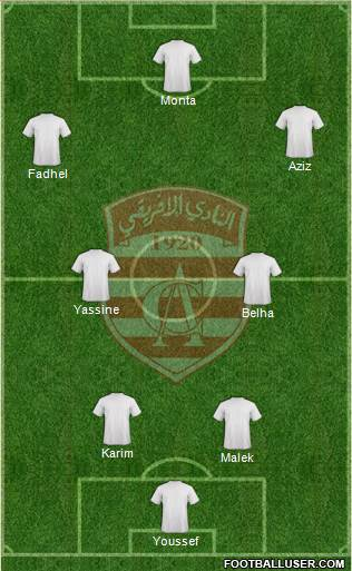 Club Africain Tunis 3-4-3 football formation