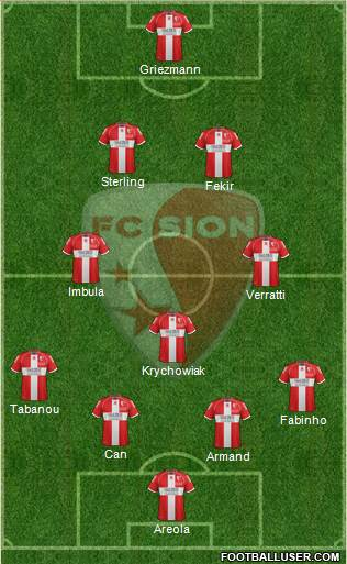 FC Sion 4-3-2-1 football formation