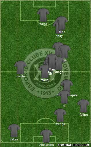 EC XV de Novembro 4-5-1 football formation