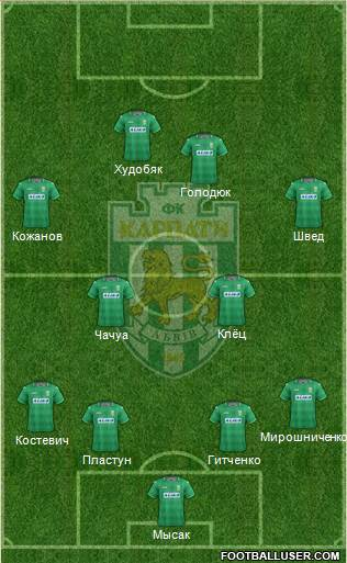 Karpaty Lviv 4-2-2-2 football formation
