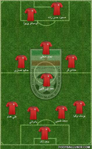 Iran 4-3-2-1 football formation
