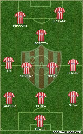 Unión de Santa Fe 3-4-3 football formation