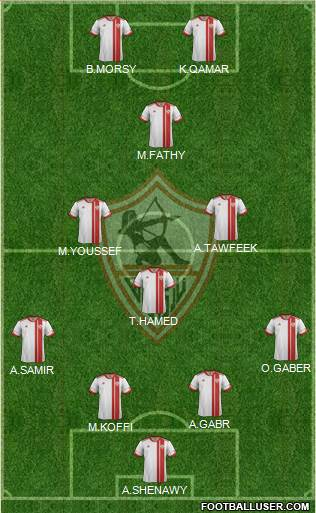 Zamalek Sporting Club 4-4-2 football formation
