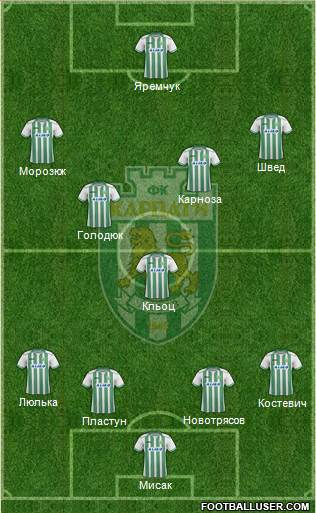 Karpaty Lviv 4-2-3-1 football formation