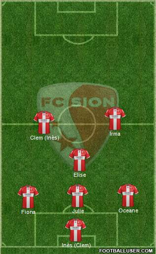 FC Sion 3-5-2 football formation