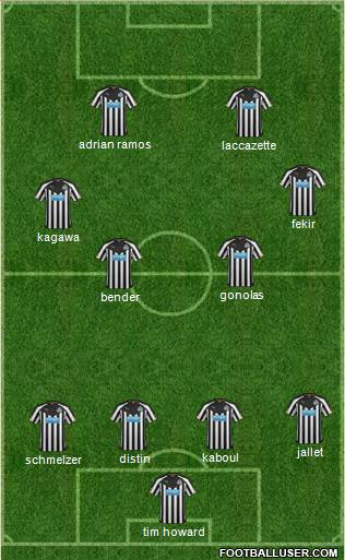 Newcastle United 4-2-2-2 football formation