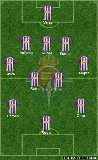 R. Valladolid C.F., S.A.D. 3-5-2 football formation