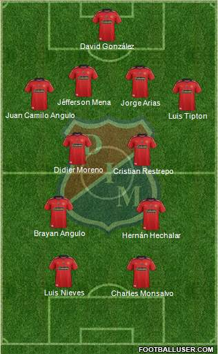 CD Independiente Medellín 4-2-2-2 football formation