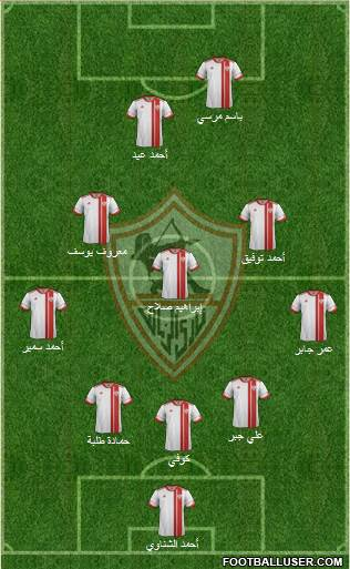 Zamalek Sporting Club 3-5-2 football formation