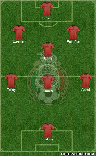 Mexico 3-5-1-1 football formation