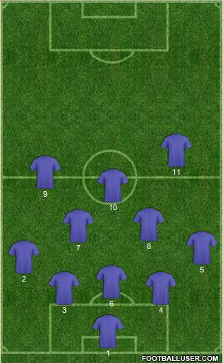 Euro 2012 Team 3-4-1-2 football formation