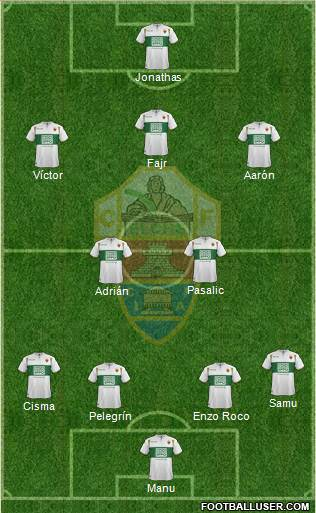 Elche C.F., S.A.D. 4-2-1-3 football formation