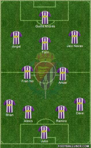 R. Valladolid C.F., S.A.D. 4-3-2-1 football formation