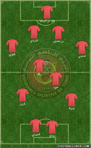 Espérance Sportive de Tunis 5-4-1 football formation