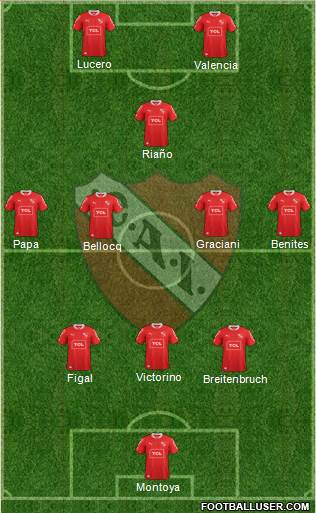 Independiente 3-4-1-2 football formation