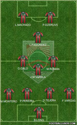 Rampla Juniors Fútbol Club 4-3-1-2 football formation