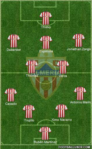 U.D. Almería S.A.D. 5-4-1 football formation