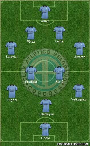Belgrano de Córdoba 4-2-1-3 football formation