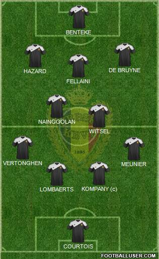 Belgium 4-2-3-1 football formation