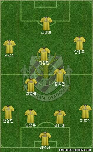 Chunnam Dragons 4-2-3-1 football formation