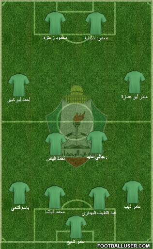 Al-Wehdat 4-2-3-1 football formation