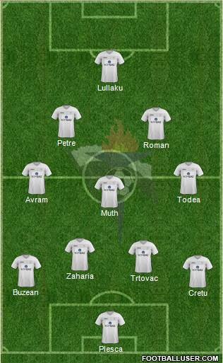 AS Gaz Metan Medias 4-3-2-1 football formation