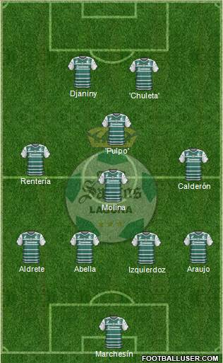 Club Deportivo Santos Laguna 4-1-4-1 football formation