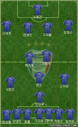 Suwon Samsung Blue Wings 4-3-2-1 football formation