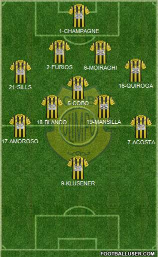Olimpo de Bahía Blanca 4-5-1 football formation