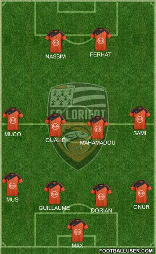 FC Lorient Bretagne Sud 4-2-4 football formation