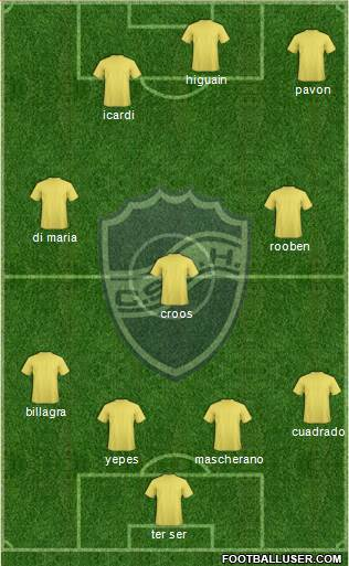 Ben Hur de Rafaela 4-1-2-3 football formation