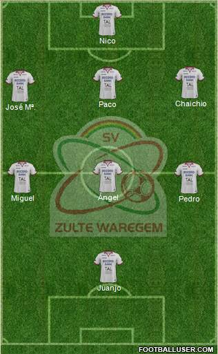 SV Zulte Waregem 3-4-3 football formation