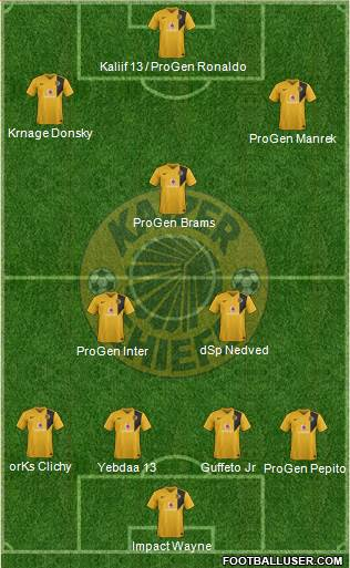 Kaizer Chiefs 4-2-1-3 football formation