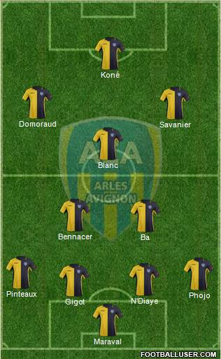 Athlétic Club Arles-Avignon 4-2-3-1 football formation