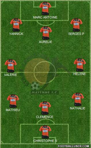 Stade Lavallois Mayenne FC 4-3-2-1 football formation