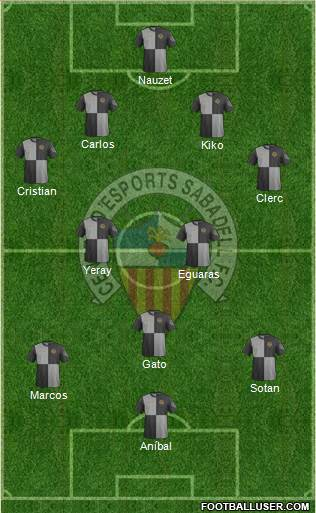 C.E. Sabadell 4-2-3-1 football formation